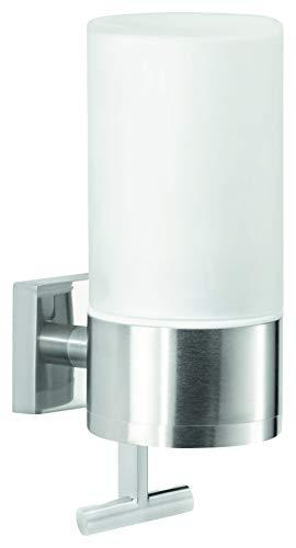 tesa EXXCLUSIV Seifenspender, Edelstahloptik, Milchglas, inkl. Klebelösung, fasst 230ml, starker Halt, 192mm x 73mm x 115mm