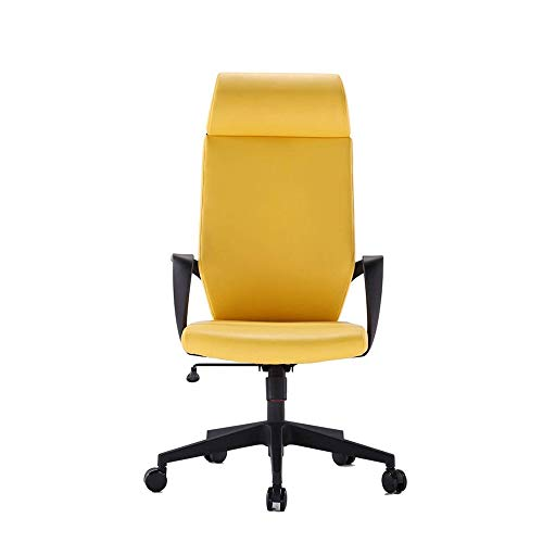 JISHIYU-Q Ejecutivo de Cuero Silla de Oficina/Ordenador con Armas - Silla ergonómica Giratorio (Blanco, Negro, Amarillo) Sillas de Escritorio (Color : Yellow)