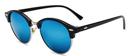 Moda Gafas De Sol Polarizadas para Hombre, con Revestimiento De Conducción, Espejo para Mujer, Retro, Redondo, Vintage, Gafas De Sol para Mujer, Gafas Uv400, Sombras, Plateado, Azul