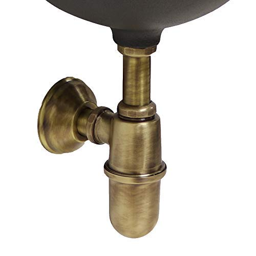 Sifone in ottone brunito a bottiglia, no piletta, da 1' per fontana vasca lavello