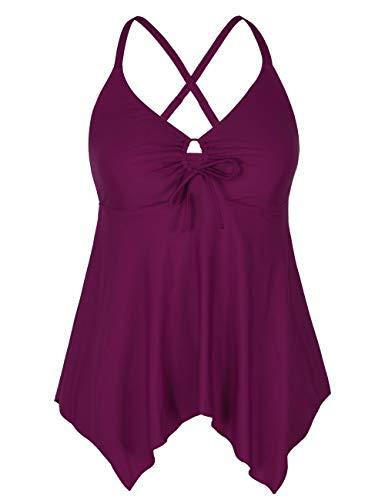 Firpearl Women's Black Flowy Swimsuit Crossback Plus Size Tankini Top US16 Carmine