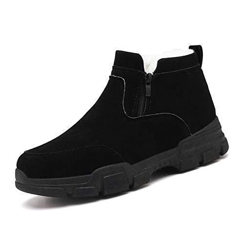 GHC Portafoglio e Portamonete Stivaletti for Uomo, Tirare cuoio genuino scarpe tinta unita, Side Zipper cucitura Lug Sole Tenere caldo pile foderato Neve Booties (Color : Black, Size : 40 EU)