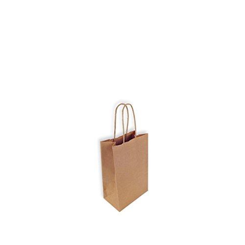 100 Bolsas de Papel Kraft 14+8,5x21,5 cm. Mini. con asa de P