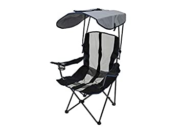 SwimWays Kelsyus Original Foldable Canopy Chair for Camping Tailgates and Outdoor Events Grey/Blue  37 L x 24 W x 58 H