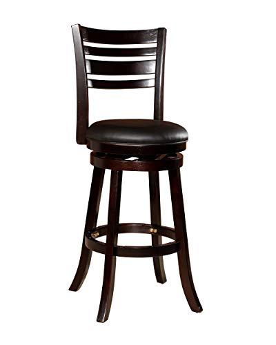 "DTY Indoor Living Granby 4-Slat Back Bonded Leather Swivel Stool, 30"" Bar Stool, Espresso Finish, Black Leather Seat"