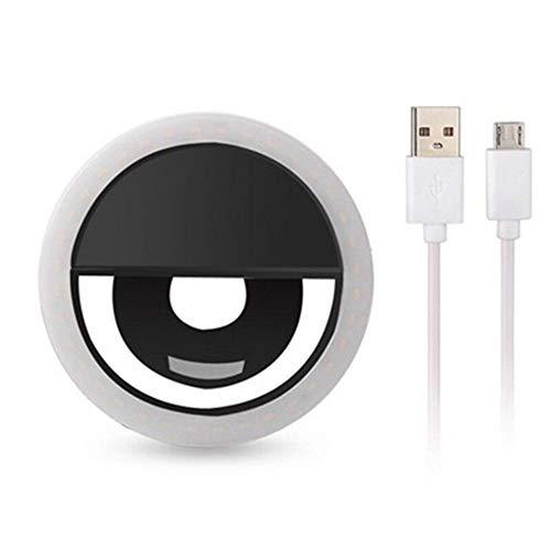 Selfie-Ringlicht, aufsteckbares LED-Kameralicht, wiederaufladbares 36-LED-Fülllicht, 3-stufige einstellbare Helligkeit der Kamera Videolichter Nacht für Telefone und Laptop-Webcams (schwarz)