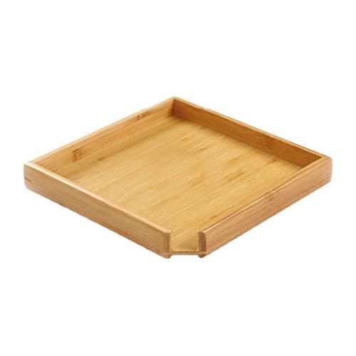 KunmniZ Cuadrado madera porción compartimiento placa de madera té comida comida bebidas plato multiusos ahorro de espacio decoración hogar almacén gestión accesorios