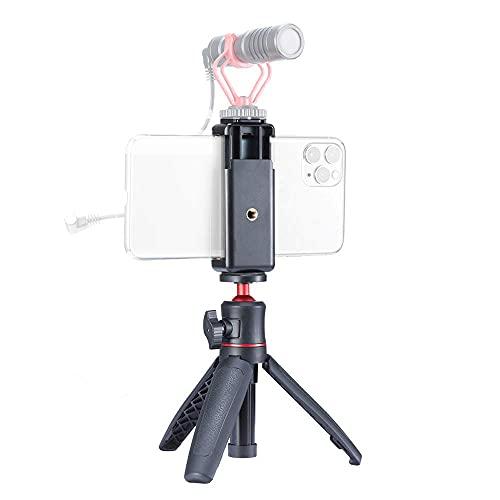 WEWOGA kit Treppiede per Selfie Stick, Supporto Treppiede asta Prolunga Tavolo con Morsetto Supporto del Telefono Attacco Pattino Freddo 1/4'' compatibile Smartphone Fotocamere Reflex DSLR Microfono