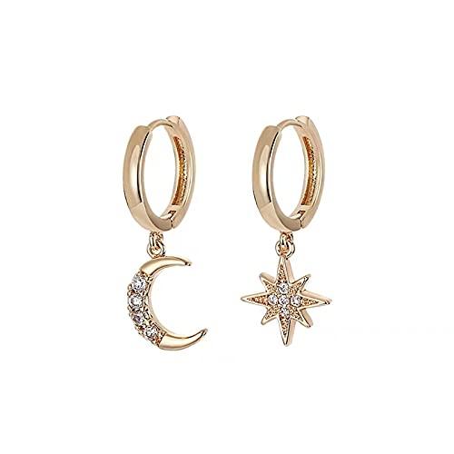 Spaloria - Pendientes de aro de plata de ley 925 con circonita y estrella de luna para mujer, mejor regalo para amantes, joyería para fiestas, brincos femenina, Cristal, desconocido,