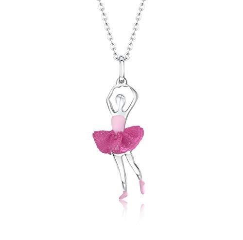 Unicornj Kinder Teen Sterling Silber 925 Ballerina Balletttänzer Anhänger Halskette mit dunkelrosa Tüll Tutu und hellrosa Emaille 16
