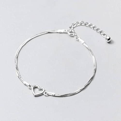 BEWITCHYU S925 Pulsera de Plata para Mujer Joyas de Mano de Amor Hueco de Doble Capaplata, Plata 925
