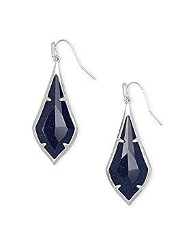 Kendra Scott Olivia Drop Earrings for Women Fashion Jewelry Rhodium-Plated Navy Goldstone