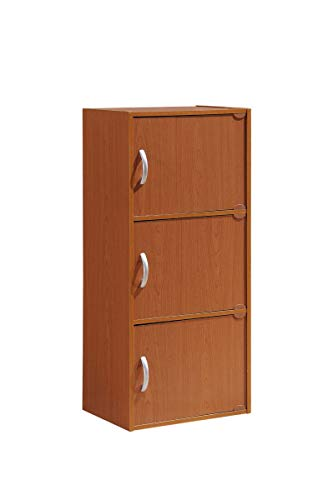 HODEDAH IMPORT 3-Shelf Bookcase Cabinet, Cherry