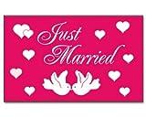 Just Married Hochzeit pink Fahne Flagge Grösse 1,50x0,90m - FRIP –Versand®