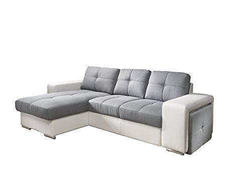 Cotta C209661 C311/D200 Polsterecke mit Schlaffunktion und Bettkasten, Kunstleder, 157 x 278 cm, weiß / Strukturstoff grau