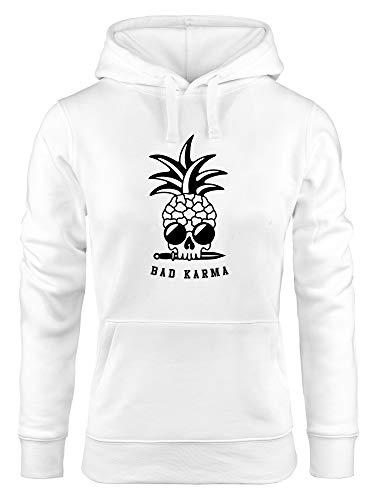 Neverless® Hoodie Damen Totenkopf Ananas Schriftzug Bad Karma Kapuzen-Pullover weiß XL