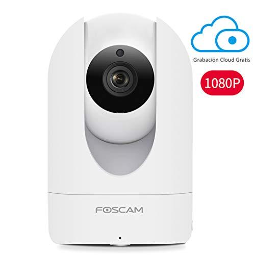 Cámara IP WiFi HD Foscam R2 para vigilancia Interior con Sensor de Movimiento y visión Nocturna, Compatible con iOS y Android. (P2P, Pan/Tilt, 1080P, Onvif, Ranura Micro SD)