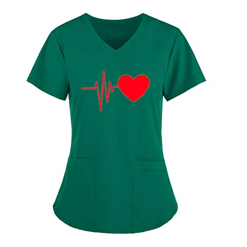 riou Uniforme Mujer Estampado Latido Corazón Blusa Enfermera Elegante Cuello V Manga Corta Camisa Suelta Mujer Casual Verano Bolsillo Shirts