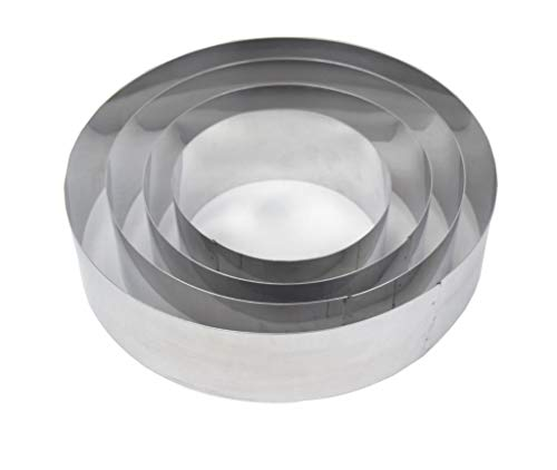 Set of 4 Round Mousse Cake Baking Rings Cutters Bottomless by EUROTINS