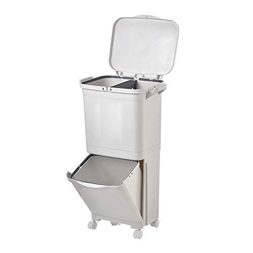 Kanqingqing vuilnisbak 45L Keuken Dual Recycling Bin Rubbish Bin Voedselafval Bin Plastic Mutli Vakken Om Afval en Gemakkelijk Recycling Scheiden