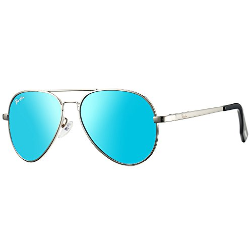 Pro Acme Small Polarized Aviator Sunglasses for Kids and Youth Age 5-18 (Silver Frame/Blue Mirrored Lens)