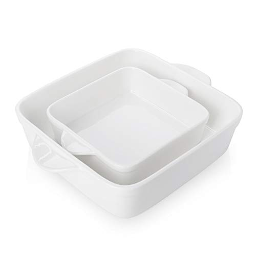 Sweese 514.201 Porcelain Baking Dish Set of 2, Square Lasagna Pans, 8 x 8 inch & 6 x 6 inch Non-stick Brownie Pan with Double Handle - White