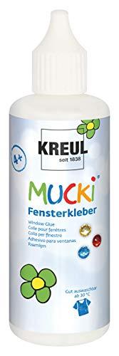 Kreul 42801 - Mucki Fensterkleber, 80 ml Flasche, parabenfrei, glutenfrei, laktosefrei, vegan, lösemittelfrei, geruchslos, auswaschbar, geeignet um Dekoration und Bastelarbeiten auf Fenster zu kleben