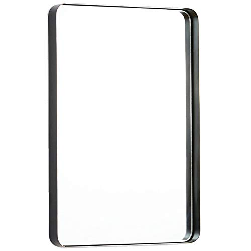 TEHOME 20x30 Black Metal Framed Bathroom Mirror for Wall in Stainless Steel Rounded Rectangular Bathroom Vanity Mirrors Wall Mounted