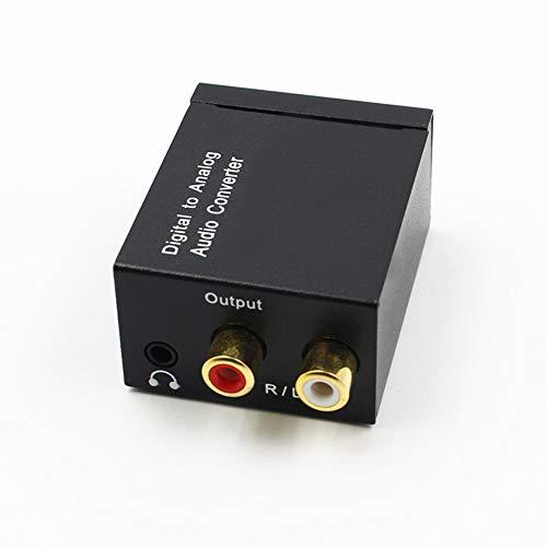 Haihuic Convertidor de Audio Digital a analógico Óptico a RCA, TOSLINK SPDIF Digital a estéreo L/R y Conector de 3,5 mm Convertidor DAC para Auriculares PS4 Xbox HDTV DVD
