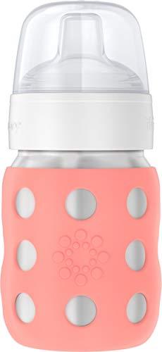 Lifefactory Babyflasche aus Edelstahl, vakuumisoliert, Weithalsflasche, mit Schnabelsauger, cantaloupe, 235ml, LS2251WCA4