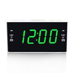 Digital Alarm Clock Radio, Alarm Clocks for Bedrooms with AM/FM Radio, 1.6 Inch Green Digit Display with Dimmer, Dual Alarm, Snooze, Sleep Timer (Green)