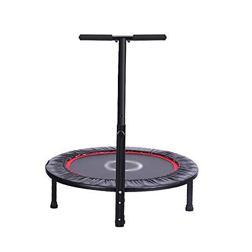 ZXQZ Fitness trampolin trampolin – 40 tum hushållsskinn Indoor Small Trampolin Weight Loss Equipment Vuxna Gym Sprungsäng med handlöpningar fyra-klapp No Noise Max Last 150 kg studsmatta inomhus