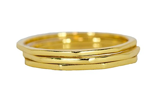 Pura Vida Gold Plated Delicate Stacked Rings - Brass Base .925 Sterling Silver - Size 6