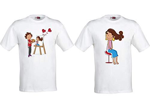 Lote 2 camisetas San Valentín, chico- chica Personalizables con nombr
