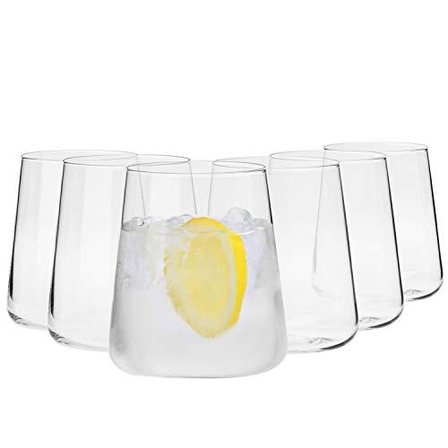 Krosno Vasos de Agua Gin Tumbler | Conjunto 6 Piezas | 380 ML | Avant-Garde Collection Uso en Casa, Restaurante y en Fiestas | Apto para Microondas y Lavavajillas