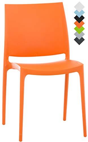 CLP XXL-Küchenstuhl Maya I Wetterbeständiger Stapelstuhl bis zu 160 kg belastbar I erhältlich, Farbe:orange