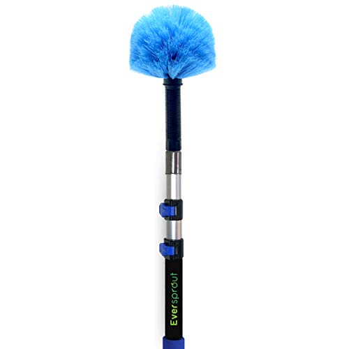 EVERSPROUT 1.5-to-4 Foot Cobweb Duster and Extension-Pole Combo (8-10 Ft Standing Reach, Medium-Stiff Bristles) | Lightweight 3-Stage Aluminum Pole | Hand-Packaged Indoor/Outdoor Use Brush Attachment
