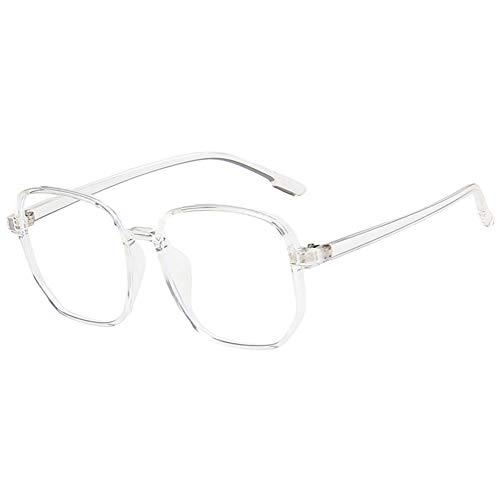 KOOSUFA Mode Groß Anti Blaulicht Brille Ohne Sehstärke Damen Herren Retro Quadratischer Blaulichtfilter Brille Brillengestelle Computer Gaming Anti Müdigkeit Brillen mit Etui (Durchsichtig)