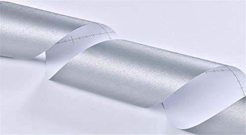 Borde del papel pintado Gris plateado cepillado Auto Adhesivo del Papel Pintado del PVC Cenefa autoadhesiva para decoración de pared de cocina baño 30CM X 500CM
