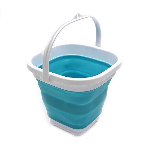SAMMART Super Mini Square Faltbarer Plastikeimer - Faltbare quadratische Wanne - tragbarer Wassereimer zum Fischen - platzsparender Outdoor-Wassertopf (Hellblau)
