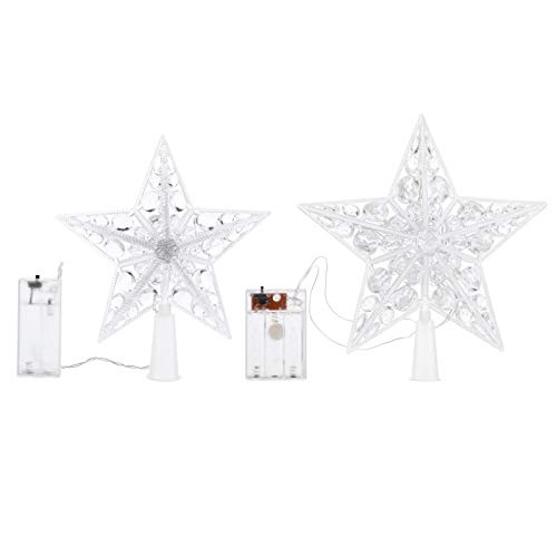 SOLUSTRE 2pcs Christmas Tree Star Topper LED Xmas Tree Finials Five Pointed Pentagram Star Tree Decoration 17cm 21cm for Holiday Party (Without Battery Warm White)
