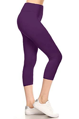 LYCPX128-PURPLE Yoga Capri Solid Leggings, Plus Size