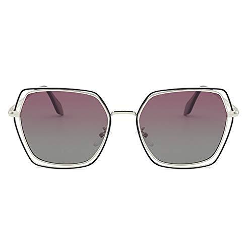 DKee Gafas de sol polarizadas poligonales para mujer elegantes conducción abierta UV400 protección marco plateado púrpura gris degradado lente