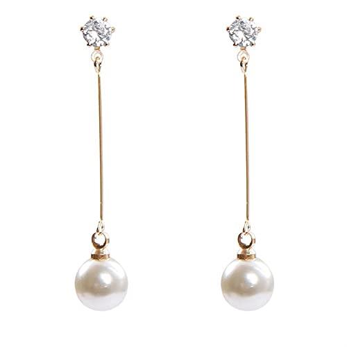 OUBALA Pendientes de Clip para Mujer Pendientes de Perlas con borlas para Mujer Pendientes geométricos con Clip de Oreja Bohemio (Metal Color : G)