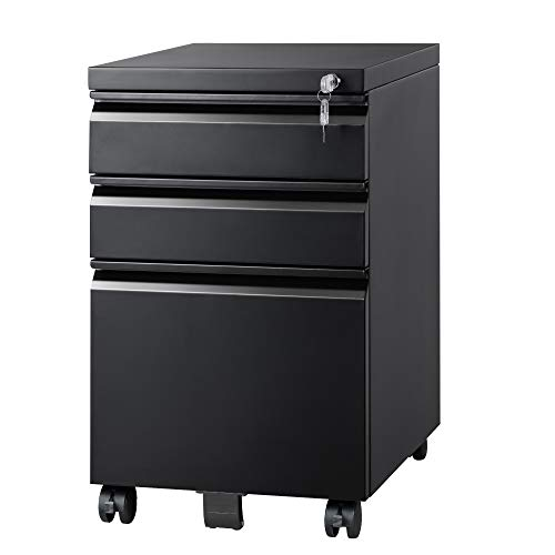 DEVAISE 3 Drawer Locking Mobile File Cabinet for Home Office, Fully Assembled Except Casters, Letter/Legal Size,Black