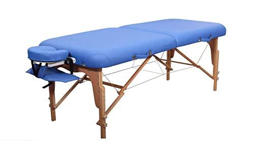 Zen Round Corner Massage-Liege klappbar und höhenverstellbar – mobiler Massagetisch aus Vollholz mit abgerundeten Kanten für aktive Massagestile, Aluminium-Kopfteil und Kosmetik-Tisch Tasche, Farbe Königsblau