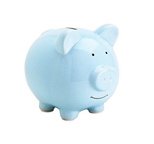 Pearhead Ceramic Piggy Bank, Nursery Decor, Holiday Present, Savings Coin Bank For Kids, Blue