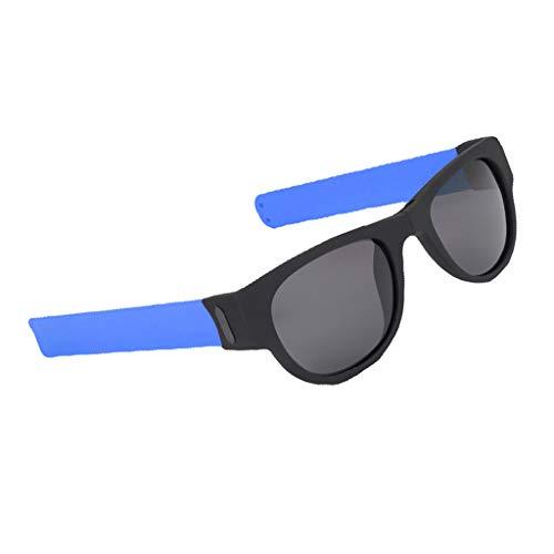 lahomia Gafas de Sol Plegables Portátiles con Protección UV Gafas de Sol Portátiles de Moda Pulsera con Bofetadas - Azul