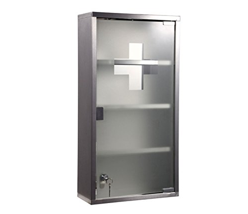 Style home Medizinschrank Medikamentenschrank Edelstahl Arzneischrank Erste Hilfe Schrank Glastür mit Schloss 4 Fächer (Silber, 60x30cm)