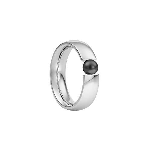 Heideman Ring Damen Globus aus Edelstahl Silber farbend poliert Damenring für Frauen mit Swarovski Perle Weiss oder farbig 5mm rund als Spannring Grau Gr.60 hr2006-3-12-60